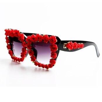 Брендовая Дизайнерская обувь 2017 солнцезащитные очки Для женщин красный цветок Барокко Стиль роскошные солнцезащитные очки для дамы летние...