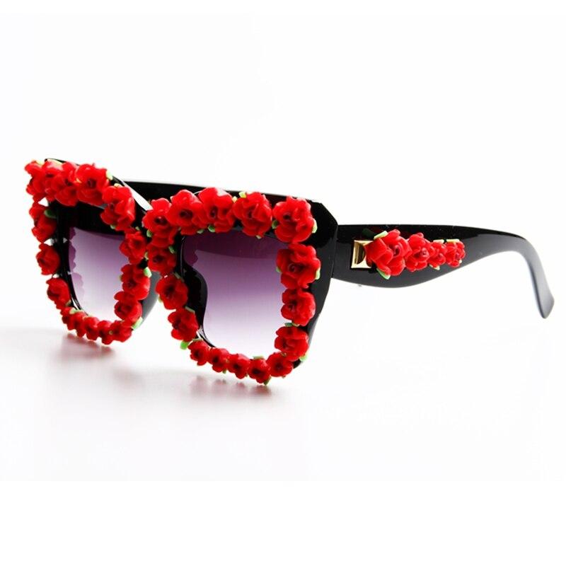 2017 נשים משקפי שמש מעצב מותג יוקרה בסגנון הבארוק פרח אדום משקפי שמש לנשים משקפי שמש החוף בקיץ