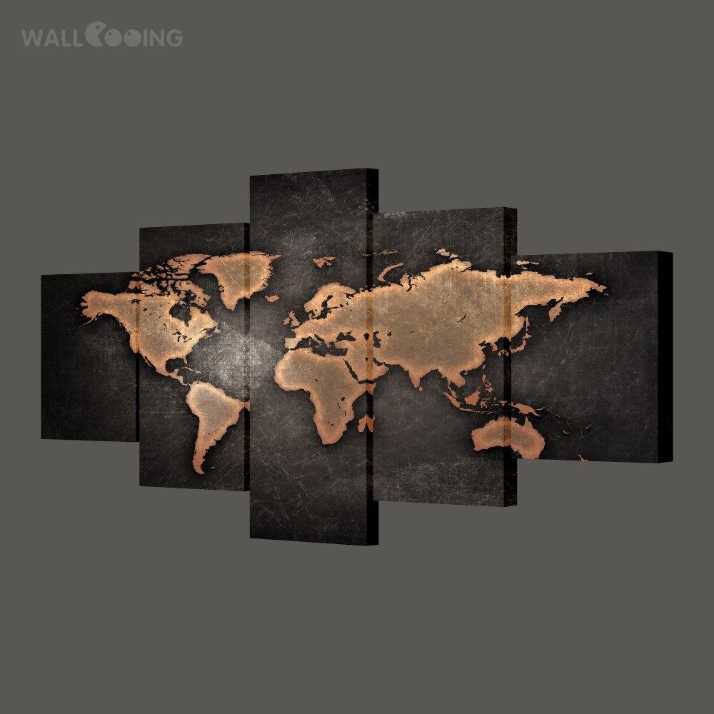 MUR ROUCOULANT décor à la maison peinture calligraphie carte du monde photo étanche toile HD imprimer 5 pcs noir conception art