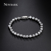 NEWBARK Round Bracelet 27pcs Cubic Zirconia 3 Prongs Stetting White Gold Plated Women Jewelry Luxury Pulseras Mujer Gift