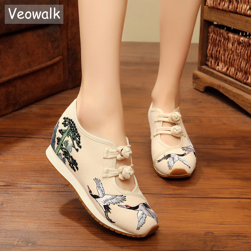 Veowalk New Crane Embroidered Women Casual Canvas Flat Platforms Retro Ladies Comfort Denim Cotton Embroidery Sneakers Shoes