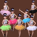 7 Colors Kids Sequined Jazz Tap Modern Dancewear Dress Girls Ballroom Party Show Dance Costume Children's dancing Outfits