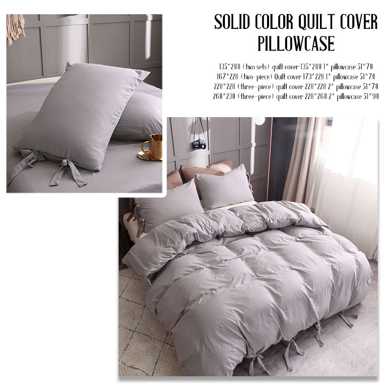 Bedding Sets Gift Gray Duvet Cover Bed Home Hotel Luxury Quilt Cover 4 Size Pillow Case Bedding Cover Set Bed Sheet
