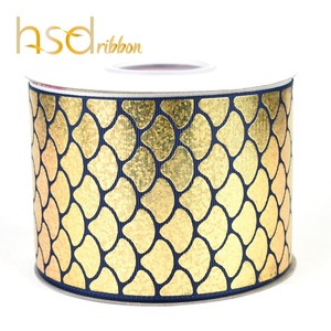 Image 4 - HSDRibbon 75MM 3 pulgadas escalas clásicas patrón holograma Arco Iris hoja de oro cinta de grosgrain estampada