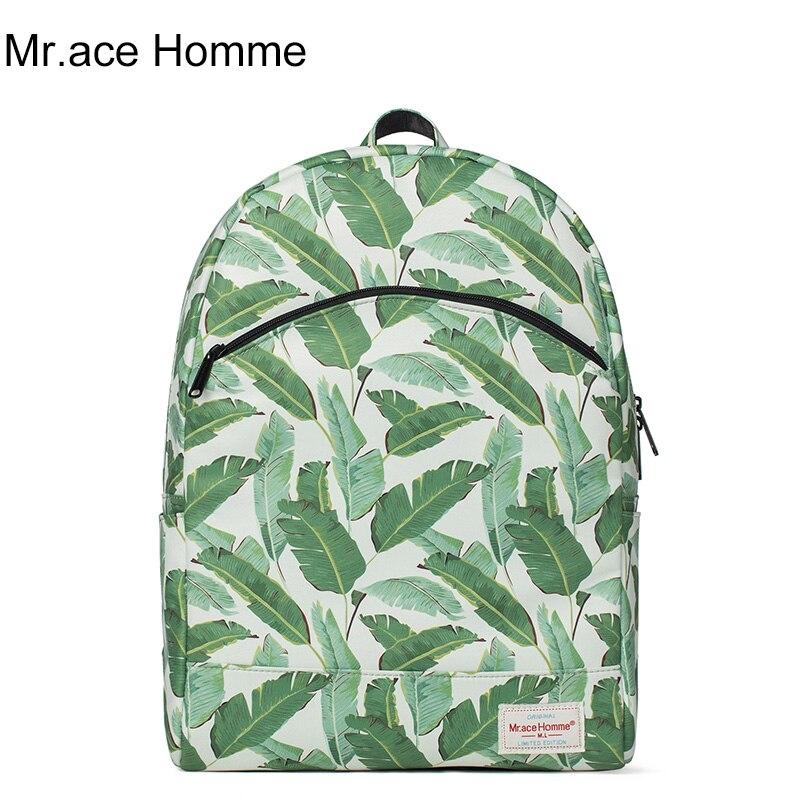 Female leaves printing shoulder bag fresh school bags women Korean college large capacity leisure laptop backpack