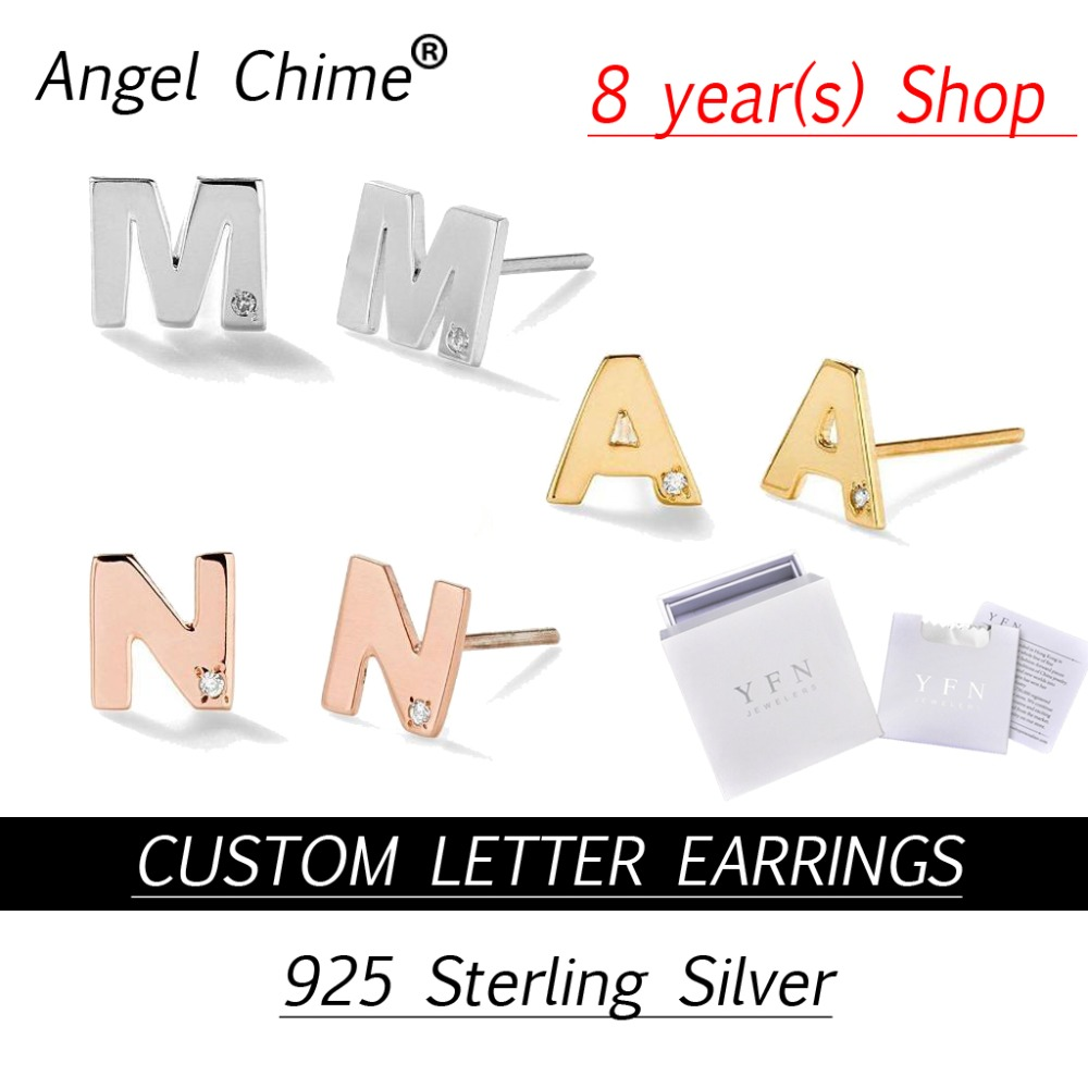 Carillon d'angle marque personnalisé CZ personnalisé majuscule lettre nom boucles d'oreilles 3 couleur réel 925 argent Sterling de haute qualité