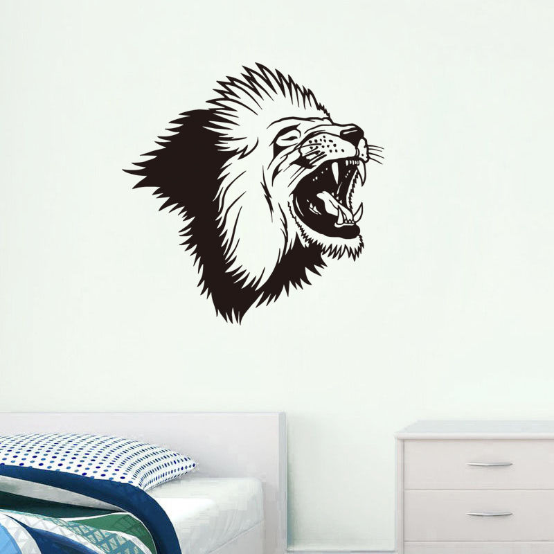 Removable Roaring Lion Head Vinyl Wall Decal Wild Animal Home Decor Living Room Art Carving Bedroom W-99