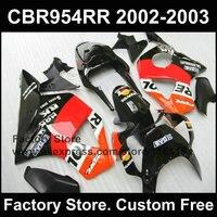 Настроить Repsol Обтекатели для Honda CBR900RR 2002 2003 Fireblade Черный Инъекции обтекатель комплект CBR 954 RR 02 03