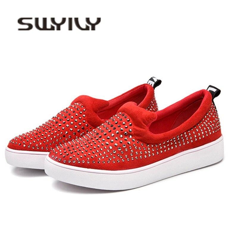 SWYIVY femme baskets Rivet sans lacet vulcaniser chaussures 2019 printemps en cuir véritable baskets femmes rouge/noir/blanc Casaul chaussures
