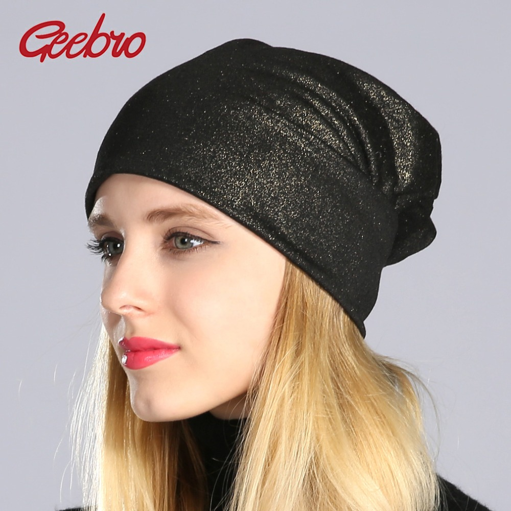Geebro Spring Women's Bronzing Black   Beanies   Hat Casual Slouchy   Beanie   for Girls Metallic Color   Skullies   Cap Bonnet For Female