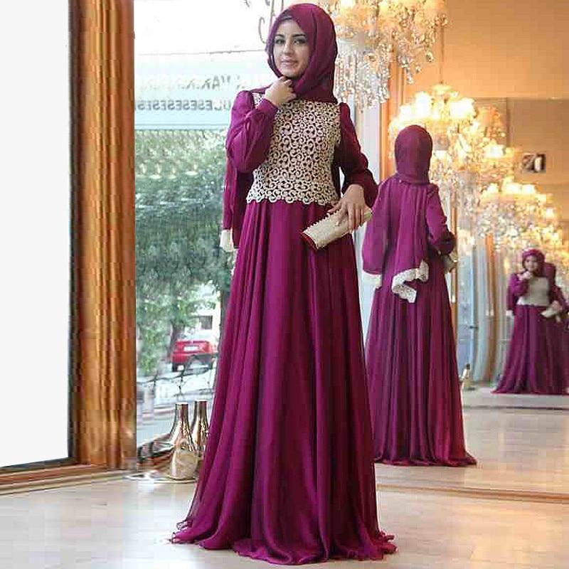 cb60f77f0d2 2015 Nouveau Design Marocain Caftan Hijab Robe de Soirée À Manches Longues  Rouge Dentelle Mousseline de Soie Musulman Robes De Bal dans Robes De  Soirée de ...