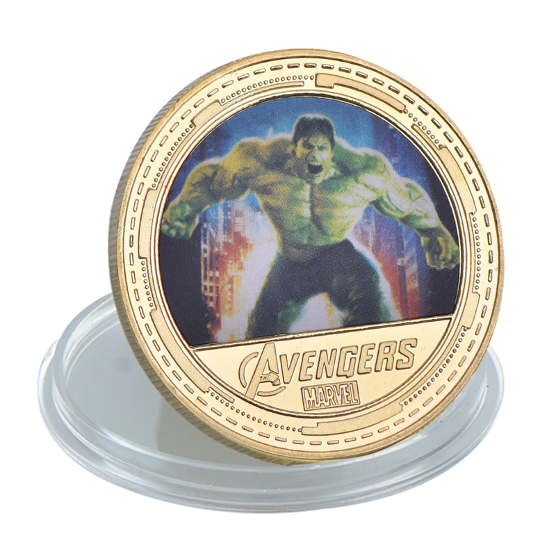 The Avengers HulkCartoon Movie CommemorativeGold Plated Coin
