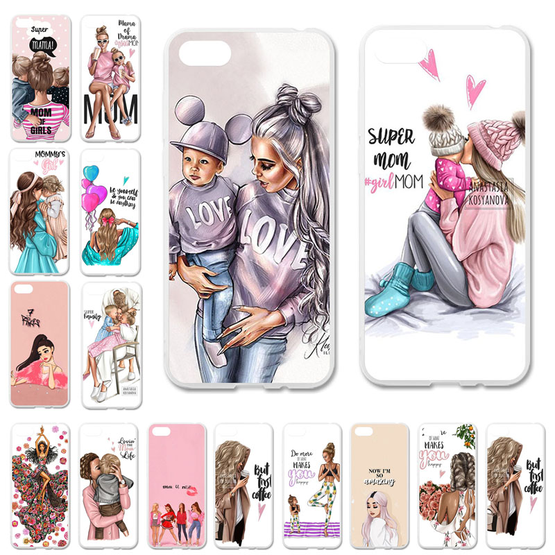 Uppbo Phone <font><b>Cases</b></font> For <font><b>Huawei</b></font> Honor 7A DUA-L22 Russian 5.45 inch Y5 Prime <font><b>2018</b></font> Black Brown Hair Baby Mom Girl Queen Soft TPU Cas image