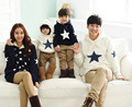 New Fashion Family Black And Whtie Color Star Pattern Autumn Winter Warm Family Matching Outfits Family Set AF-1760