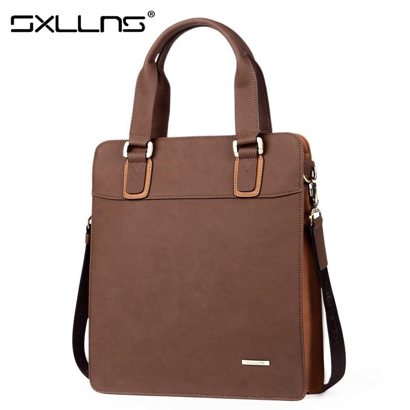 Brand Handbag Sxllns Tote Bag Men Shoulder Bags Leather Crossbody Bag Vintage Casual Messenger Bag Men's Briefcase Free Shipping