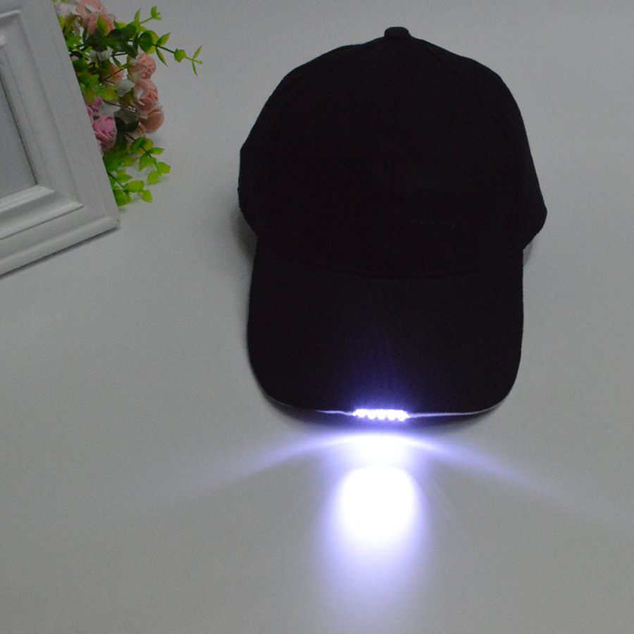 Free Shipping Black Color Lighted LED Built In 5 Flashlight Hat Baseball Cap Night Walking Hiking Fishing Hunting
