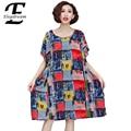 Plus Size Women Clothing 2016 Summer Style New Fashion Plaid Printing Casual Dress Female Short Sleeve Loose Dresses Tunic Shirt