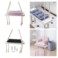 Rope Hanging Wooden Swing Seat with Rope & Cushion for Playground Kids Room Yard Play Fun
