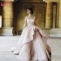 Высокий Низкий Розовый шампанское Великолепная Свадебное платье Арабский Модест Свадебные платья халат де mariée Z428
