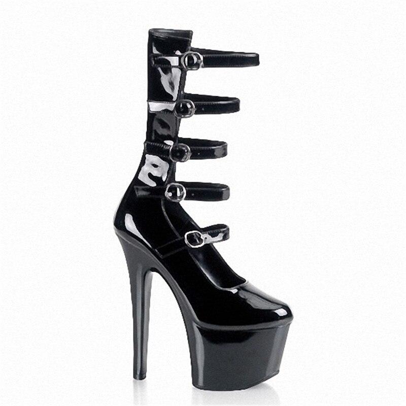 15 Cheville Cm À Talons Nouveau Arrivé Bottes Dames De Femmes Hauts En Noir Mince Cuir Pu Boucle sangle Évider Chaussures pompes Bottes Mode Avec qqYxAzrdw