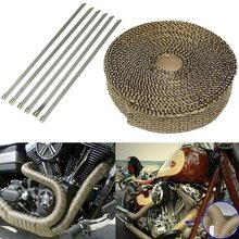 SI-AT24002 2,54 см x 1,60 мм x 7,5 м титановая Золотая выхлопная труба теплоизоляционная ткань анти-скальдинг турбинная полоса