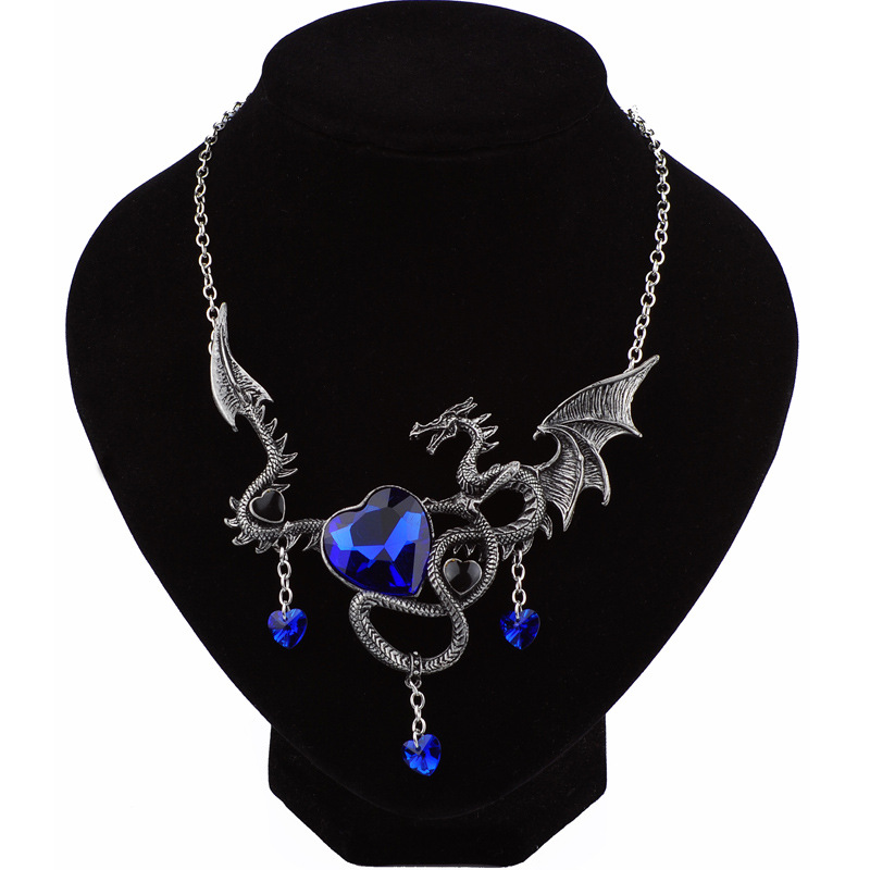 NAPOLN Dragon Necklace Women Men Austrian Crystal Heart Necklaces Pendants Personality Vintage Necklace Jewelry Accessory микро робот hexbug ant цвет розовый