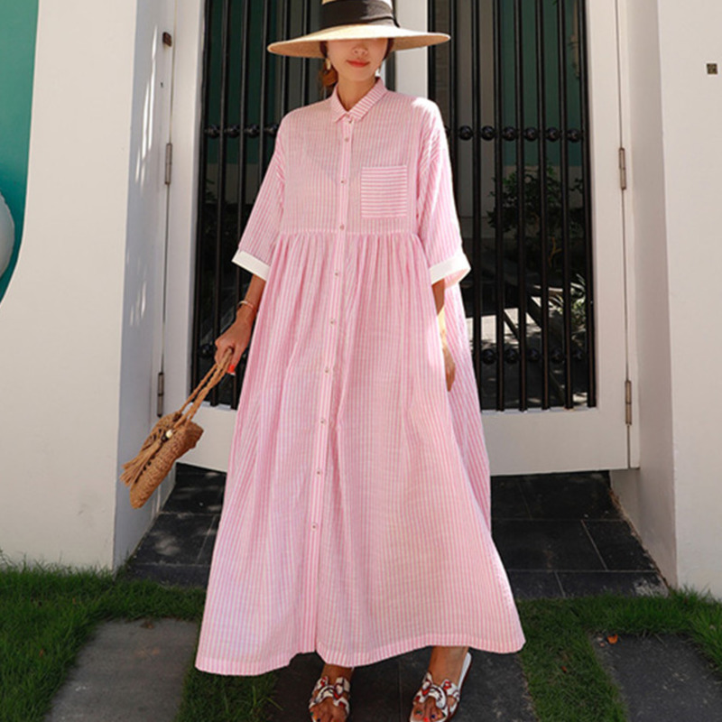 LANMREM 2020 Autumn New Fashion Korean Temperament Women Loose Casual Pleated Ruffled Doll Striped Dress TC208
