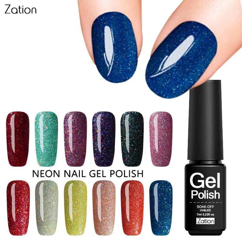 Zation Neon Varnish Color Gel Polish Bling Nail Gel