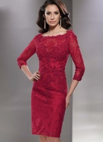 Red Long Sleeve Groom Dresses for Mother of the Bride Lace Dresses Knee Length For Weddings