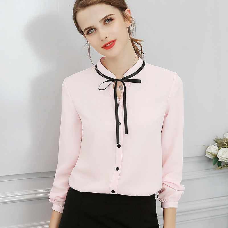 ih New Spring Autumn Tops Office Ladies Blouse Fashion Long Sleeve Bow Slim White Shirt Female Cute Bodycon Work Blouses Blusas