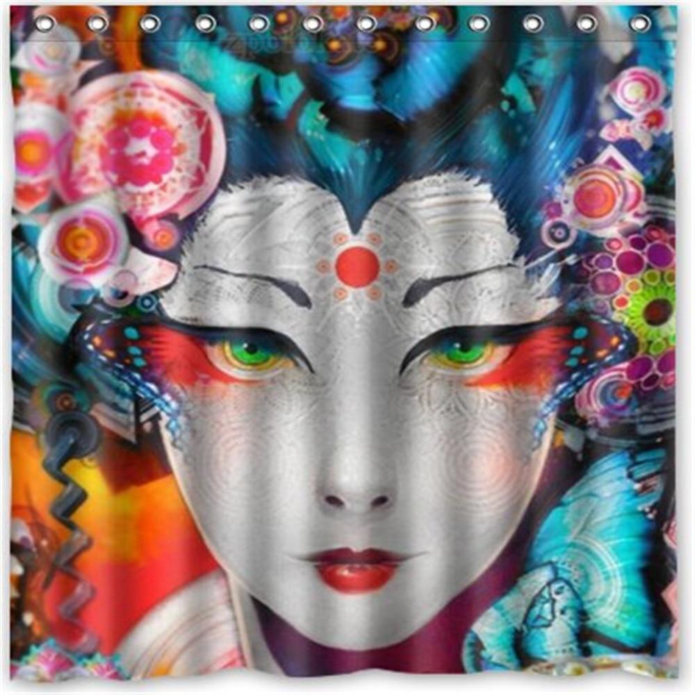 Japanese Art Geisha Girl Psychedelic Popular Bath Curtain