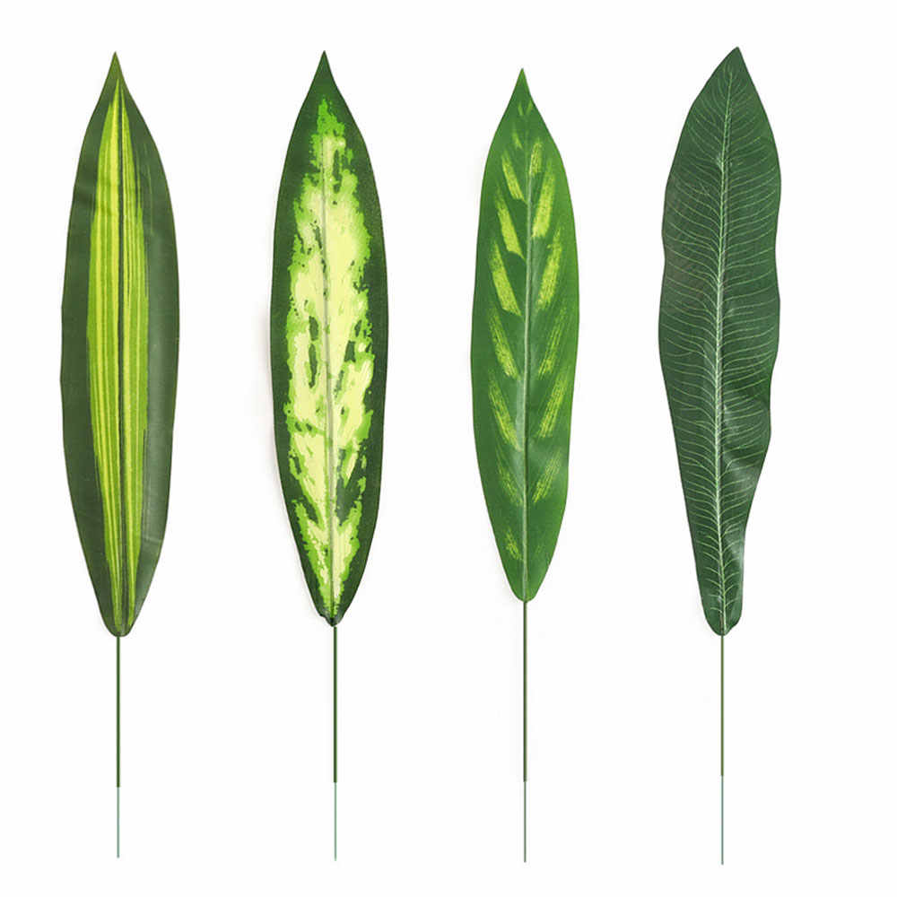 Visual Touch Set 12pcs Lots Green Artificial Monstera Leaf Plant Tree Branch Brazilian Leaves Palm Evergreen Tail Leaves