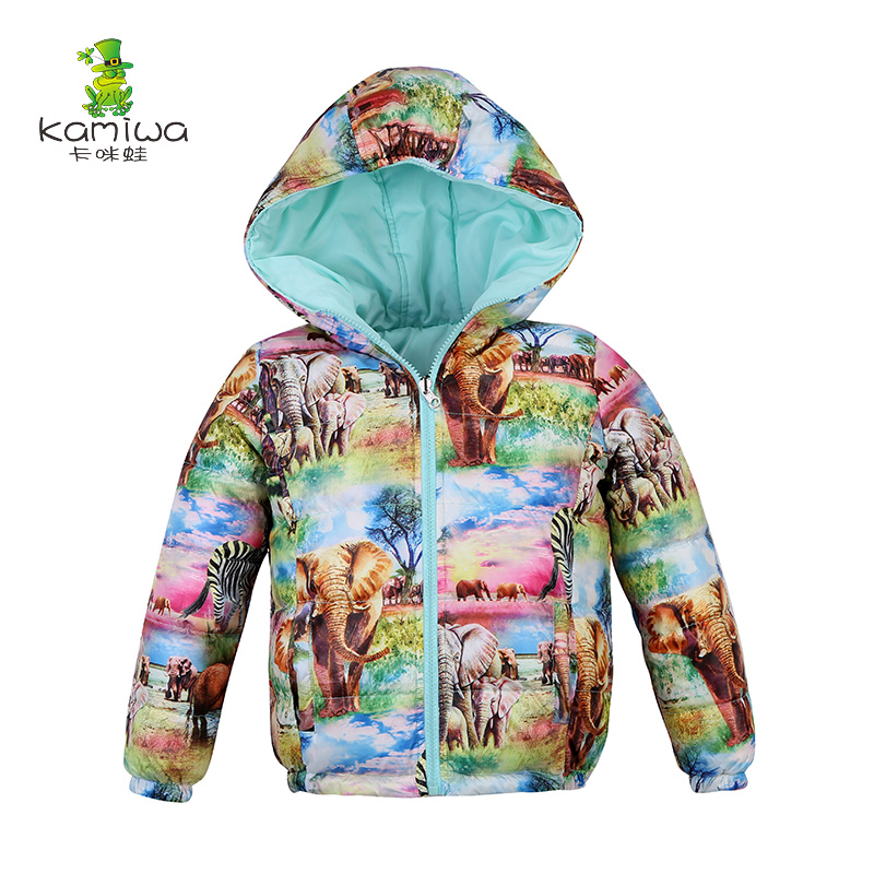 KAMIWA 2017 Girls Winter Coats Two-Way Animal World Printing White Duck Down Jackets Cotton-padded Parkas Children Clothes 2017 winter children cotton padded parkas clothes baby girls