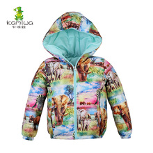 KAMIWA 2017 Girls Winter Coats Two Way Animal World Printing White Duck Down Jackets Cotton padded