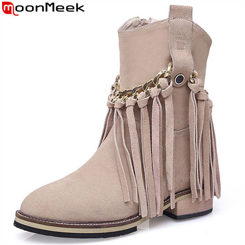 MoonMeek black fashion autumn winter boots women round toe zip suede leather boots fringe med heels ankle boots for women  MoonMeek black fashion autumn winter boots women round toe zip suede leather boots fringe med heels ankle boots for women