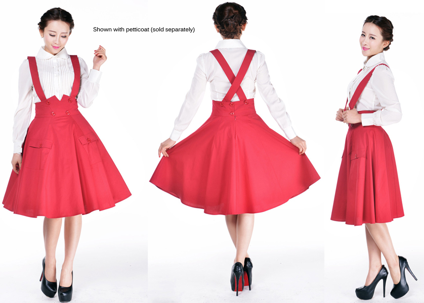 10- women vintage 50s Audrey Hepburn swing midi suspender skirt in red  black plus size 6b803d5c5890