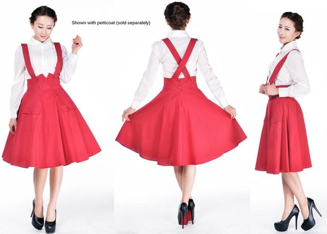 d8f8a7c482f 10- women vintage 50s Audrey Hepburn swing midi suspender skirt in red  black plus size faldas rockabilly pinup braces skirts