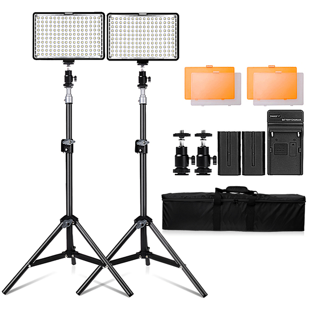Travor 2in1 TL 160 Led Video Light kit with 78 inch light stand 3200K/5500K LED Camera Camcorder Video Light Panel with Battery