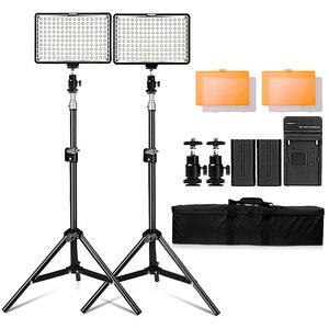 Image 1 - Travor 2in1 TL 160 ledビデオライトキットと78インチライトスタンド3200 18k/5500 18k ledカメラビデオカメラビデオライトパネルバッテリー