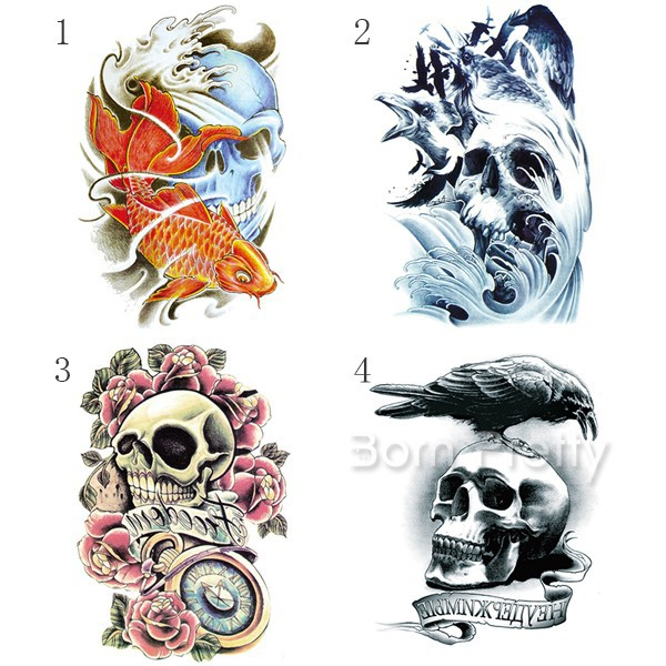 Molto Skull flower uccello onda tattoo body art decal carta impermeabile  CV81
