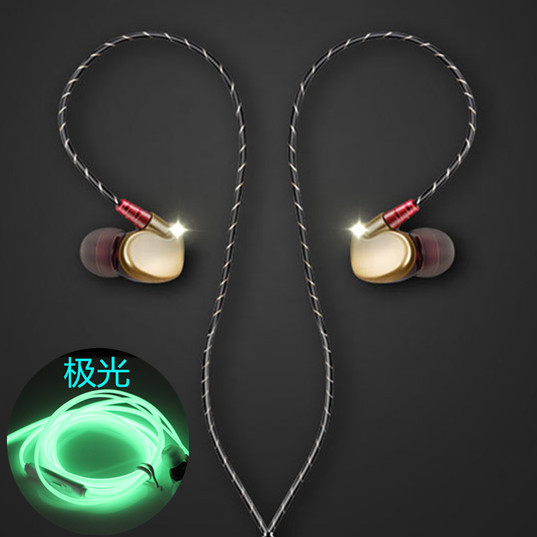 New Hot Heavy Bass Earphone Sports Running Headphones Glow In The Dark Luminous Earphone with mic fone de ouvido