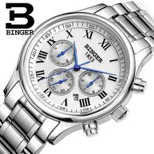 Suisse montres hommes marque de luxe Montres BINGER Mécanique Bracelets complet en acier inoxydable Étanche B6036-15