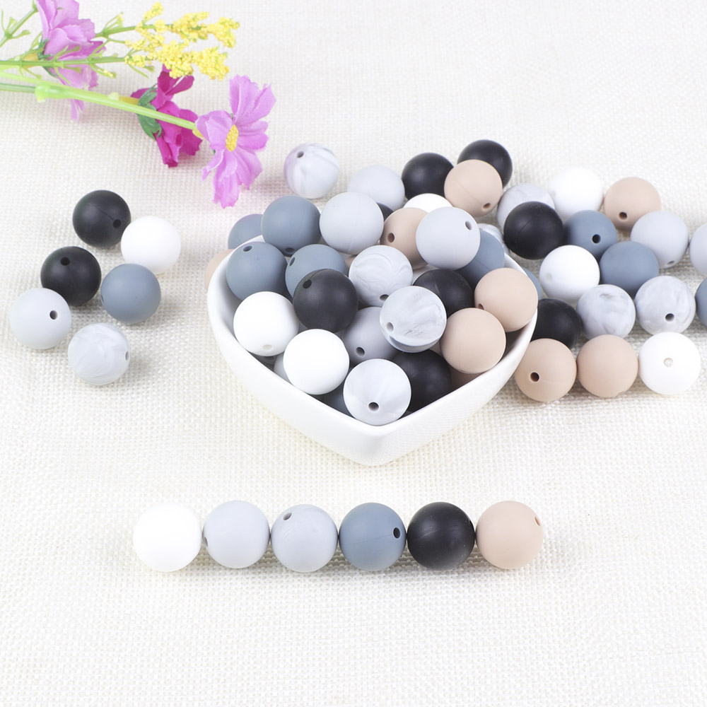 BOBO.BOX 15mm 100pcs Silicone Beads Food Grade Silicone Baby Teething For Necklace Chews Pacifier Chain Clip Beads Soft Silicone