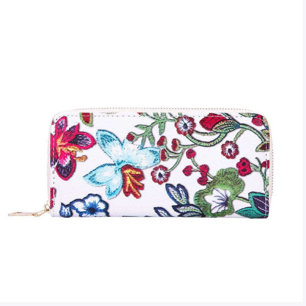 Womens Casual Printing Floral Wallet Fashion Lady Billfold Card Holder Purse Flowers Pattern Handbag monedero mujer para monedas lily flowers pattern metal foldable purse handbag hook table bag holder