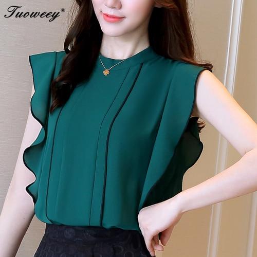 add0d434e0d Spring Summer elegant sleeveless blouses women OL career o-neck chiffon shirts  tops ladies office business plus size work wear