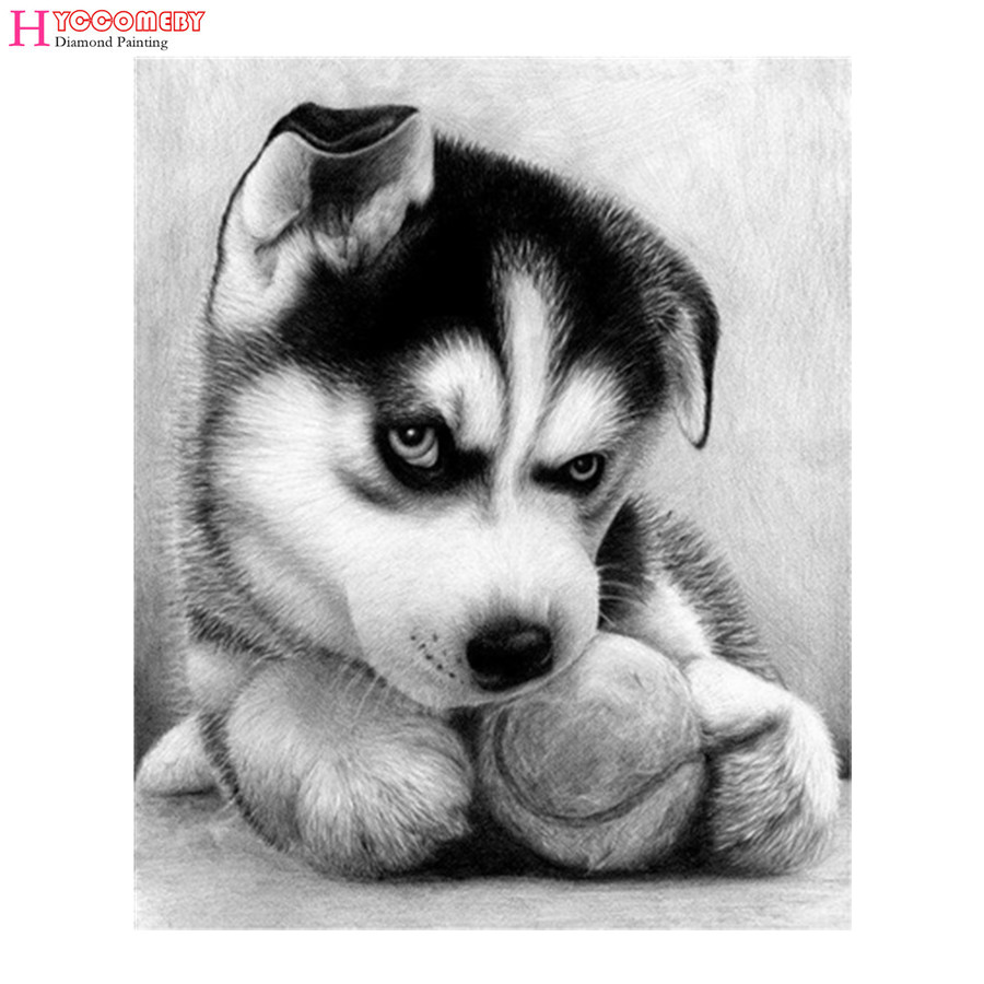 Diy Berlian Lukisan Cross Stitch Huskies Berlian Bordir Indah hewan - Seni, kerajinan dan menjahit