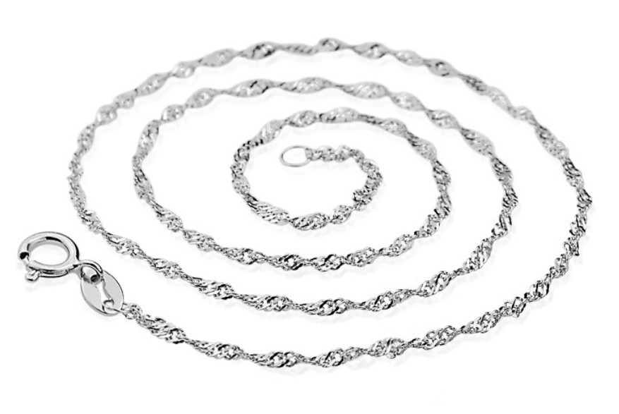 wholesale jewelry accessories real 18k white gold plated womens simple wave necklace chain for jewelry design 18inch an001 in chain necklaces from jewelry