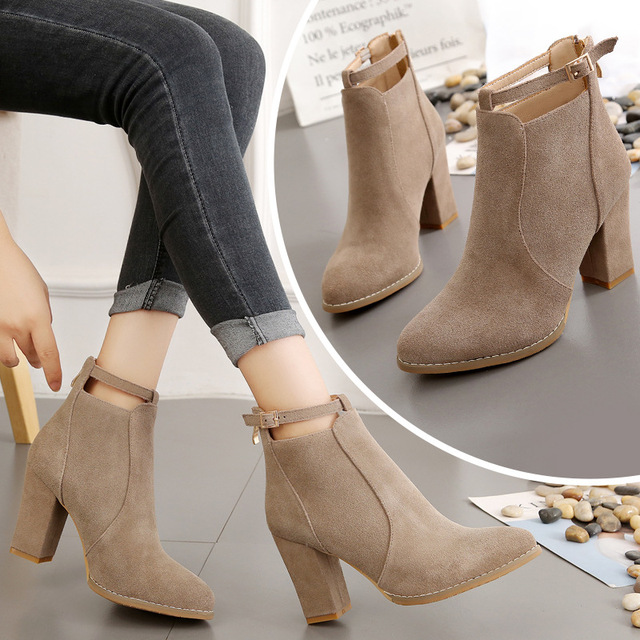 New 2019 Autumn Winter Fashion Woman Boots High Heels women Leather Ankle Boots Sexy Pointed Toe Martin Boots 4009