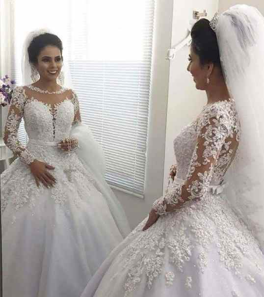 55ea78b49aa Detail Feedback Questions about Vestido de Noiva Ball Gown Princess Wedding  Dresses with Long Sleeves Bead Lace Appliques Wedding Gowns Court Train  Mariage ...
