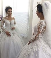 Vestido de Noiva Ball Gown Princess Wedding Dresses with Long Sleeves Bead Lace Appliques Wedding Gowns Court Train Mariage